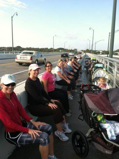 Hundreds of women pushed their babies and strollers over the bridge.